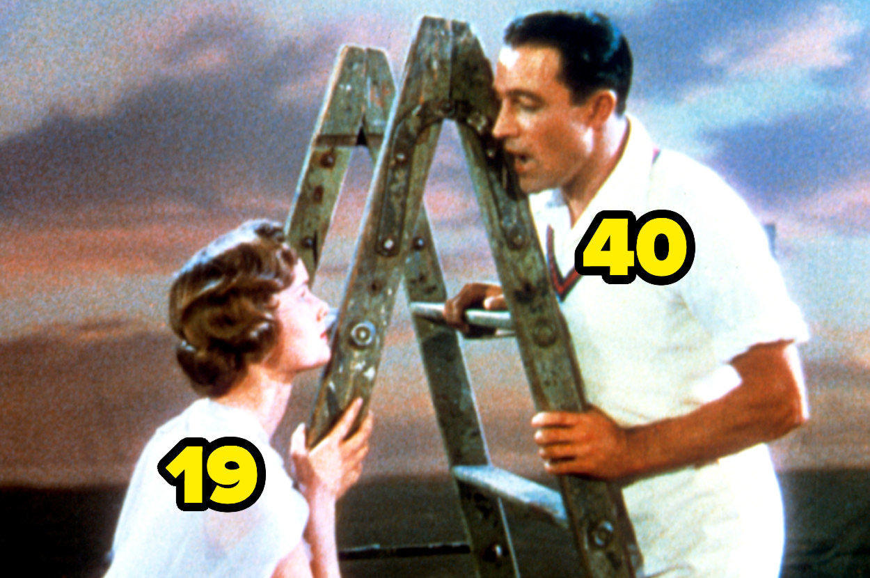 19-year-old Debbie Reynolds looking up at 40-year-old Gene Kelly