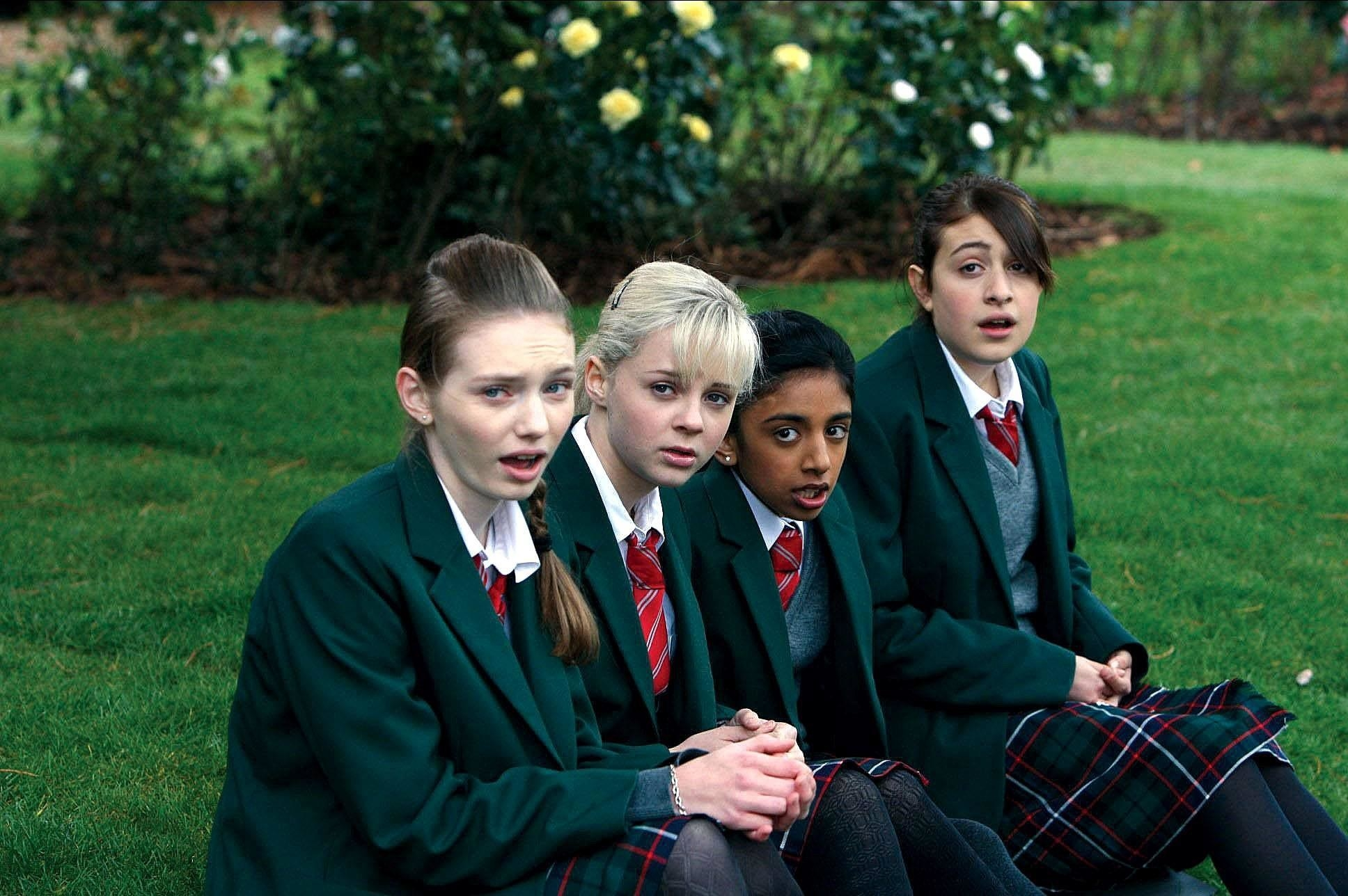 Eleanor Tomlinson, Georgia Henshaw, Manjeeven Grewal, and Georgia Groome in Angus, Thongs, and Perfect Snogging