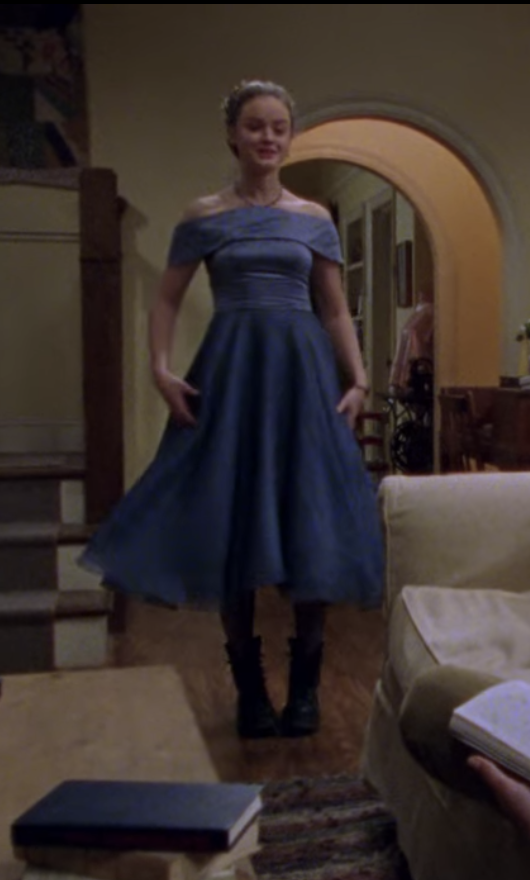 Rory in a blue dress matched with combat boots