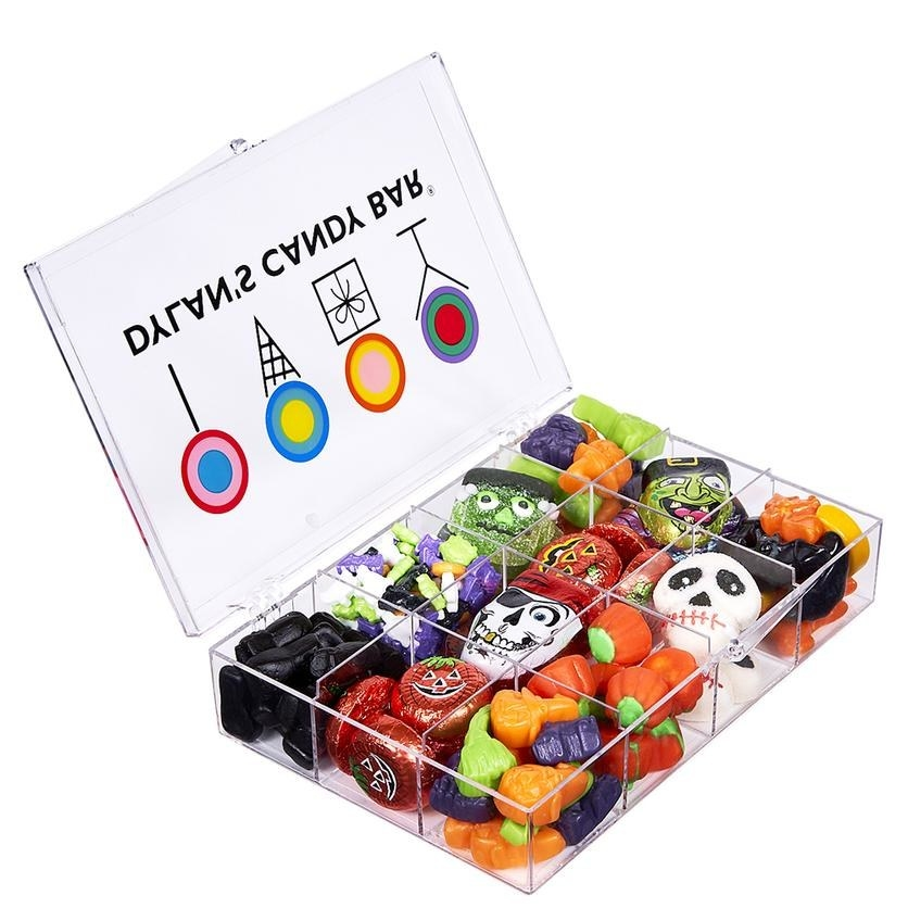 clear Dylan's Candy Bar gift box filled with Frankenstein and pumpkin candy