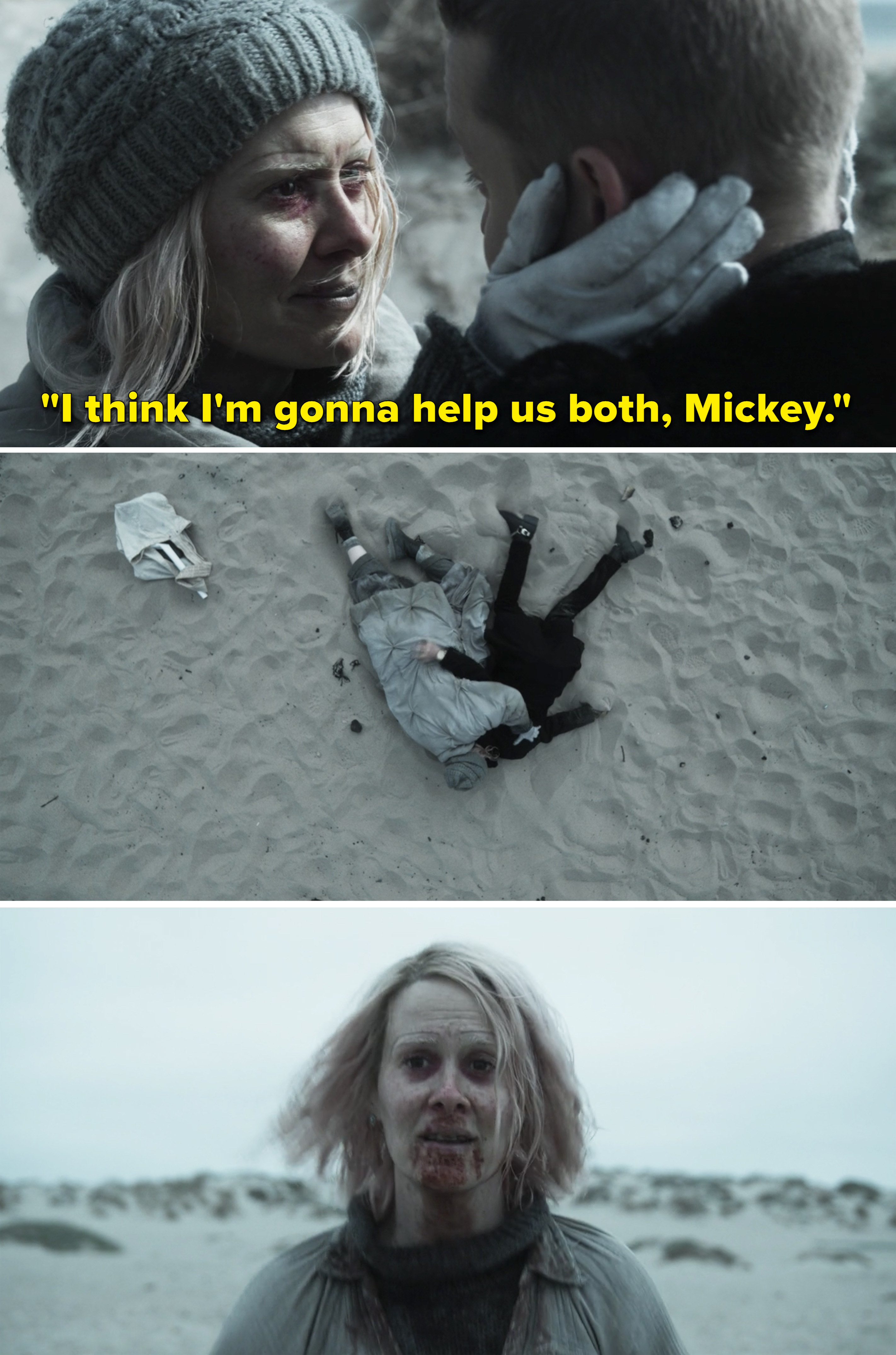 """Karen telling Mickey, """"I think I'm gonna help us both"""" while they sit on a beach"""