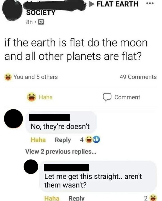 Person who asks if the moon is also flat if the Earth and stars are flat