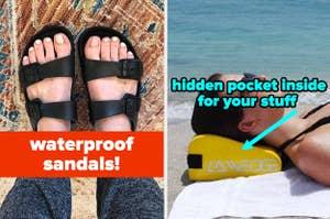 L: waterproof black sandals that look like birkenstocks R: model lying on a yellow head pillow that has a hidden pocket inside for your stuff