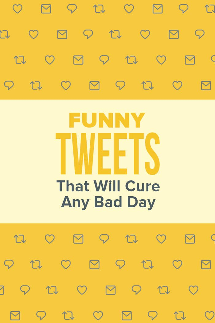 """Illustrated graphic featuring envelopes, hearts, and talk bubbles, and the retweet symbol with the caption """"Funny Tweets That Will Cure Any Bad Day"""""""