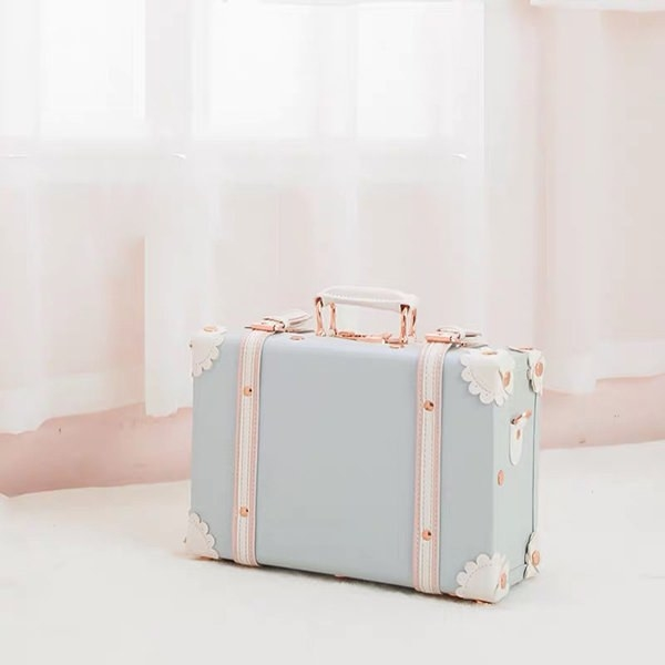The suitcase in blue with a handle and white accents throughout