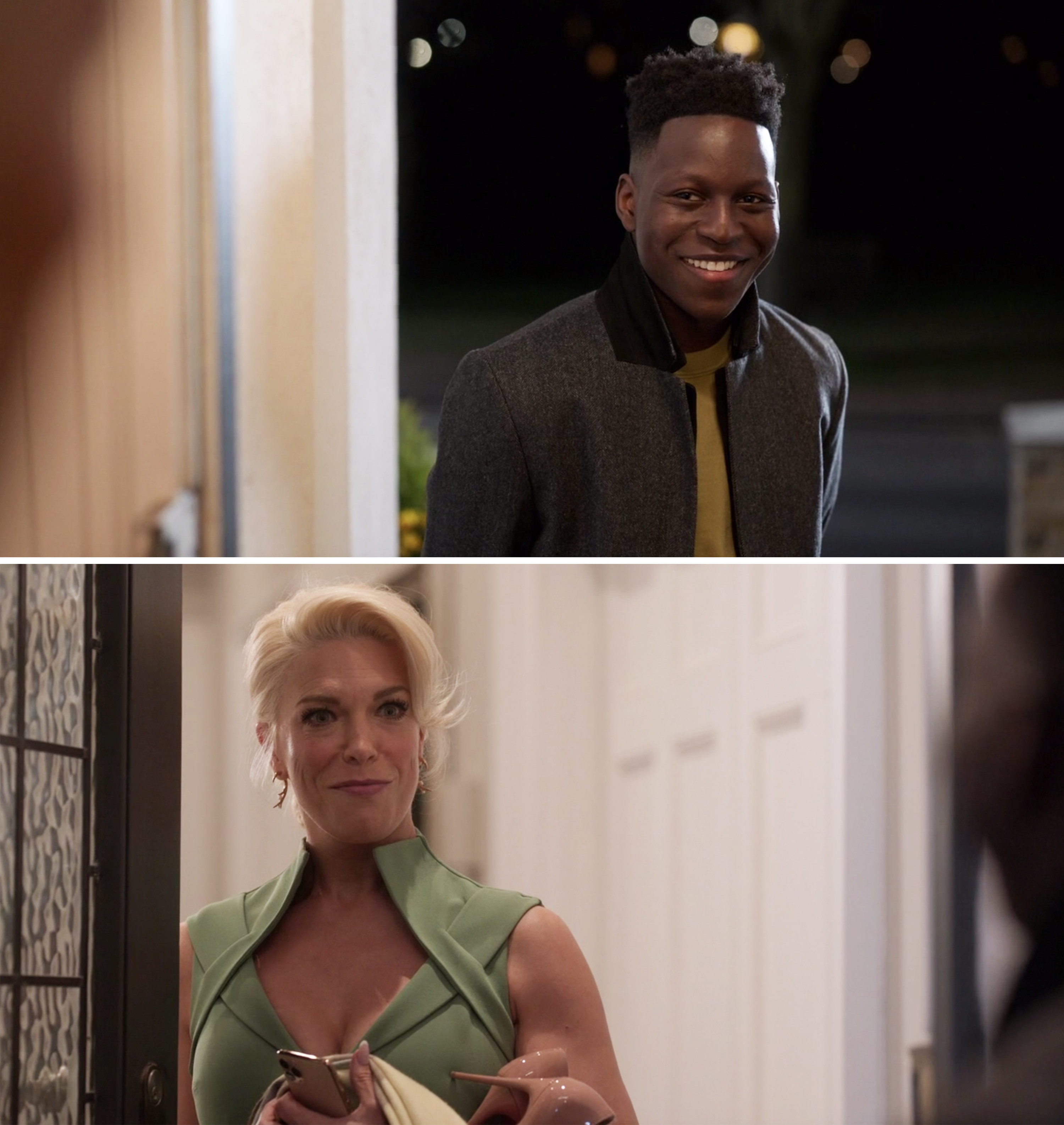 Sam smiling at Rebecca as she opens the door