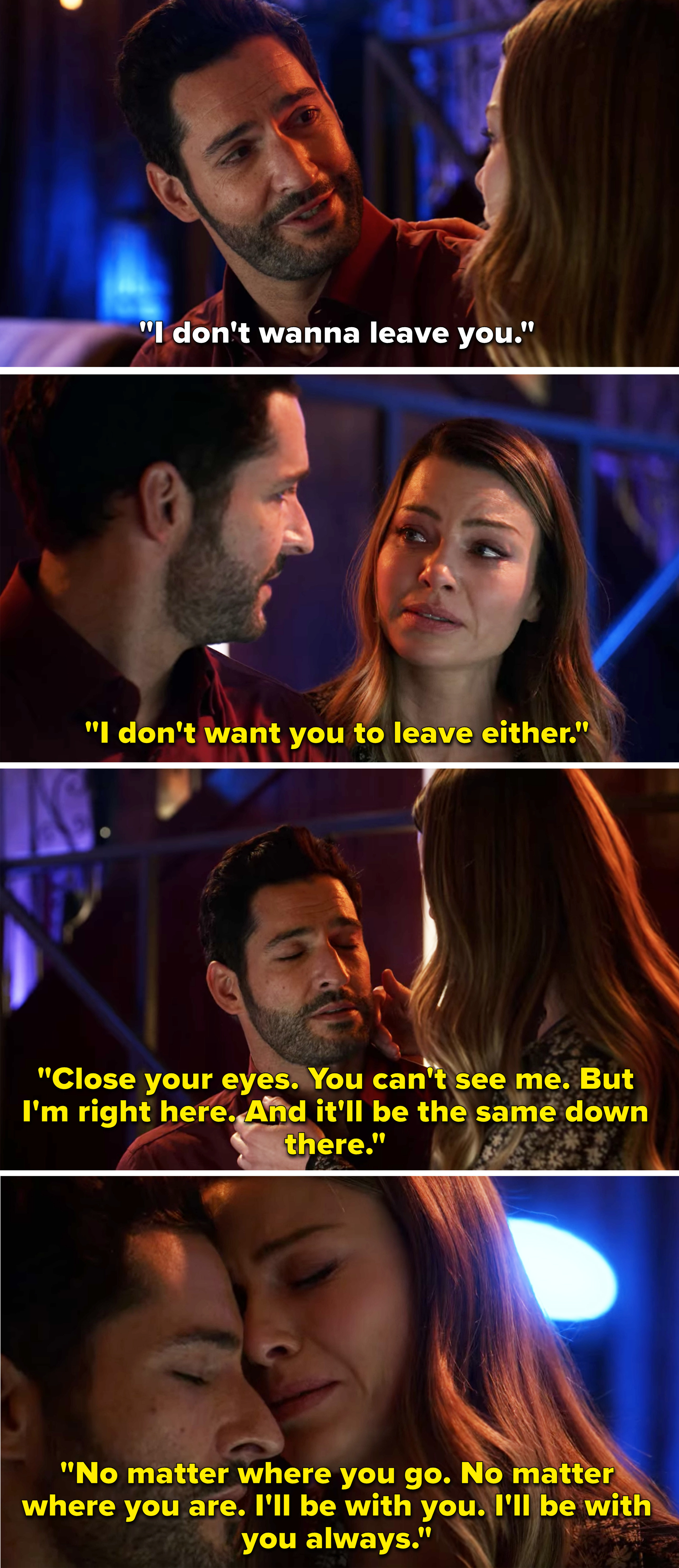 Chloe and Lucifer sobbing and Chloe saying she'll be with him always
