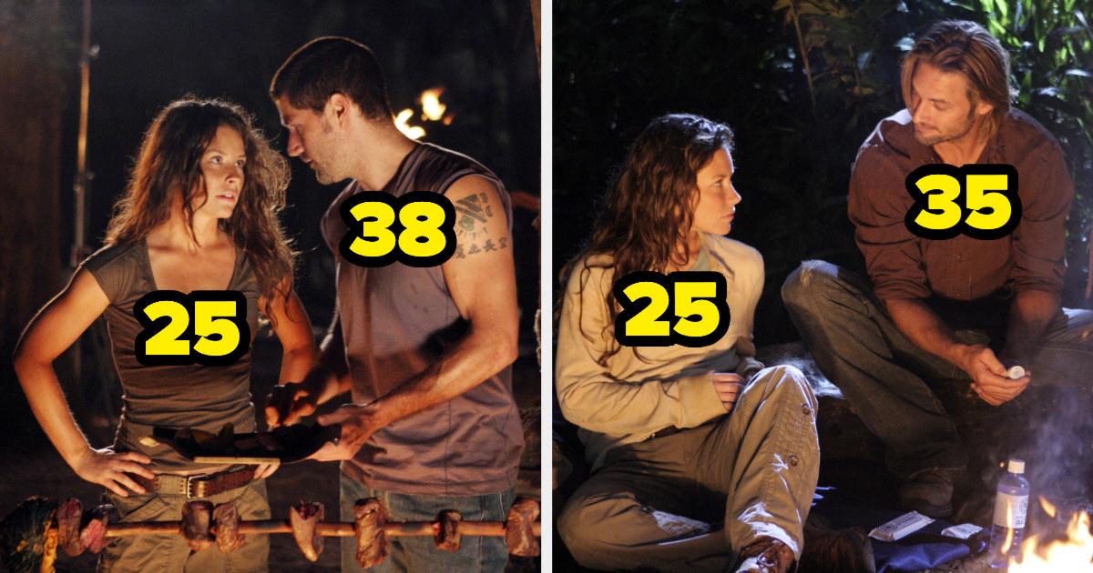 Evangeline Lilly was 25, Matthew Fox was 38, and Josh Holloway was 35