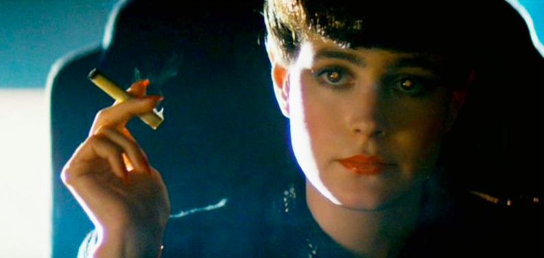 shining eye effect on woman smoking cigarette