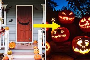 house and pumpkins