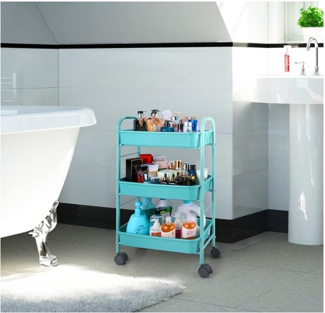Foto de carrito de almacenamiento en color azul