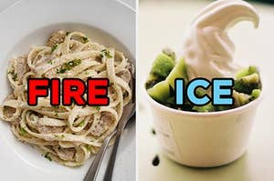 On the left, some Alfredo pasta labeled fire, and on the right, some vanilla froyo with kiwi on top labeled ice