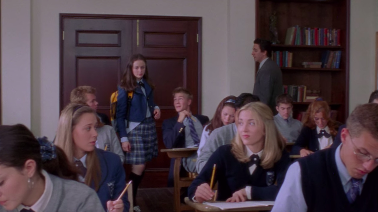 """Rory walking into a classroom on """"Gilmore Girls"""""""