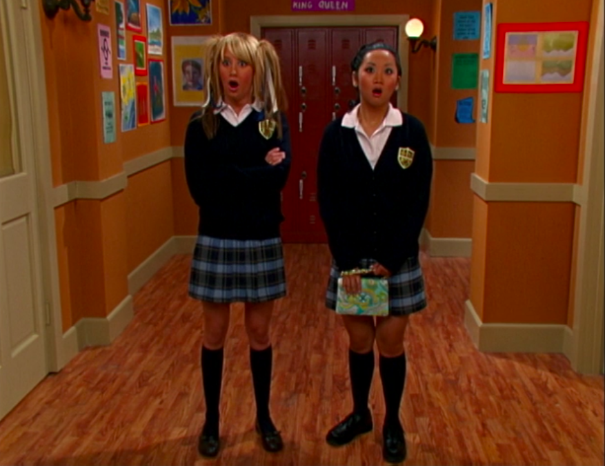 """Maddie and London standing in the school hallway on """"Suite Life of Zack and Cody"""""""