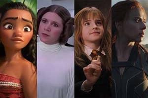 Moana, Princess Leia, Hermione, and Black widow