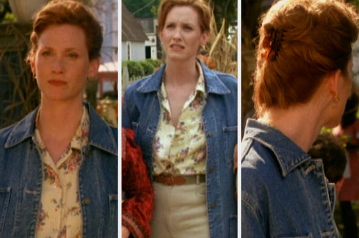 Gwen wearing a floral button-down, oversized denim jacket, high-waisted pants, and a claw clip in her hair