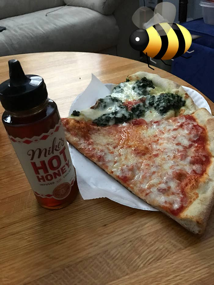 pizza with the honey on it