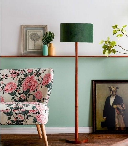Green wooden floor lamp