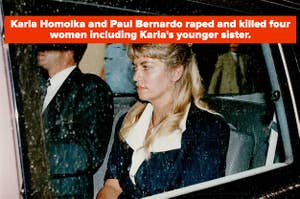 Karla Homolka in a car on the way to her trial