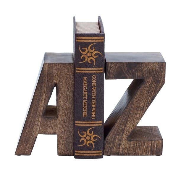 letter a and z wooden bookends with book