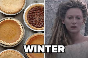 """An assortment of pies are labeled, """"winter"""" with a woman in the cold on the right"""
