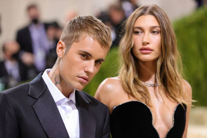 Justin and Hailey in a suit and strapless gown, respectively, at the 2021 MET Gala