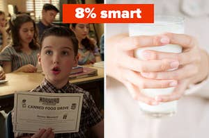 Young Sheldon is on the left holding a certificate with a woman holding a cup of milk on the right