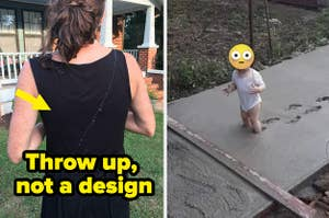 A child is walking in wet cement
