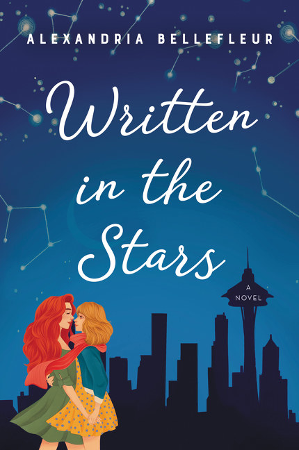 Two women embrace in front of a skyline with constellations in the sky.