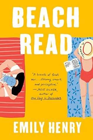 A yellow cover with a woman in a red one-piece swimsuit reading on her stomach, and a man sitting in a baseball cap reading.