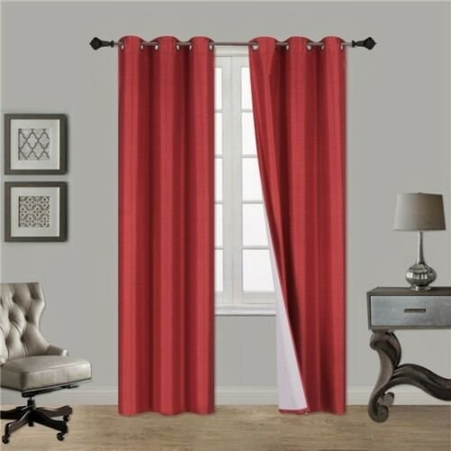 red curtains hanging from window