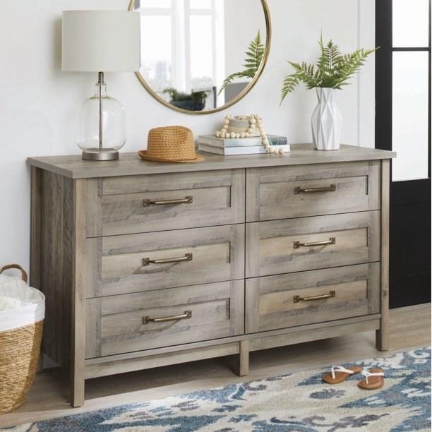 six drawer wooden dresser