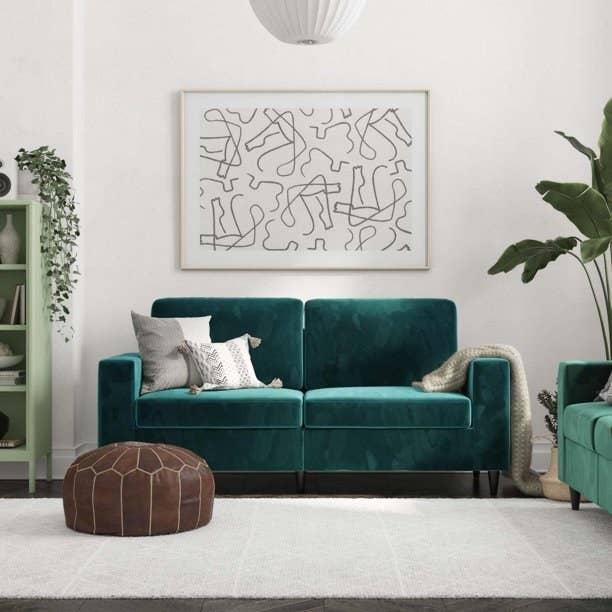 green velvet two-seat sofa