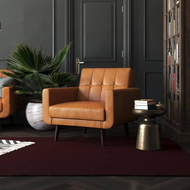camel colored faux leather armchair
