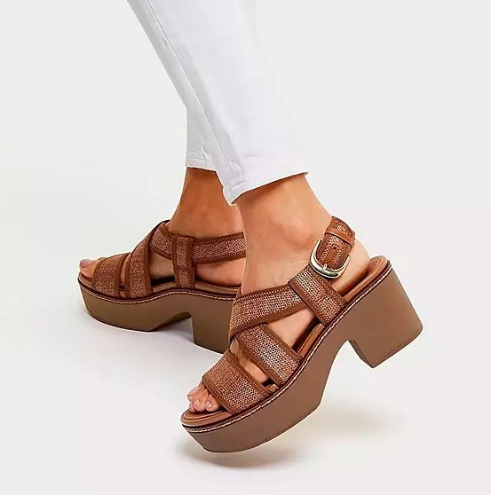 Model wearing the brown sandals