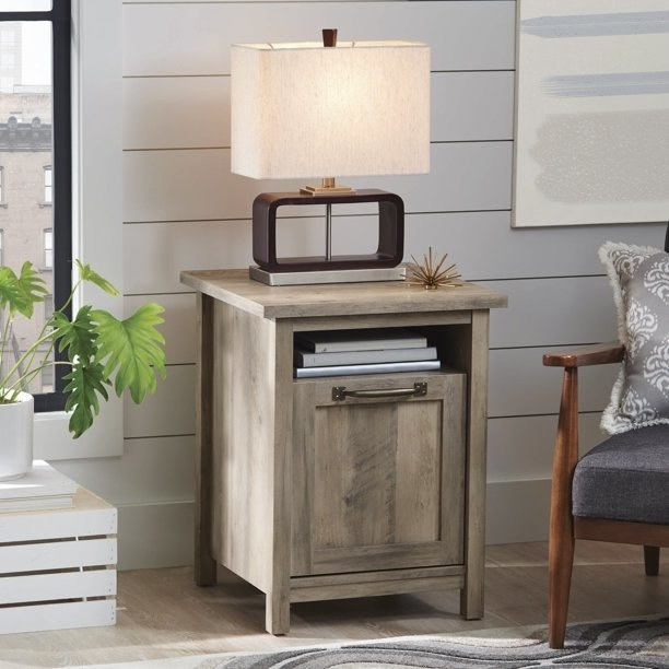 gray finish side table with shelf and storage