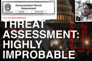 A collage of excerpts from the demonstration permit obtained by BuzzFeed News, Ali Alexander, and the US Capitol building on January 6