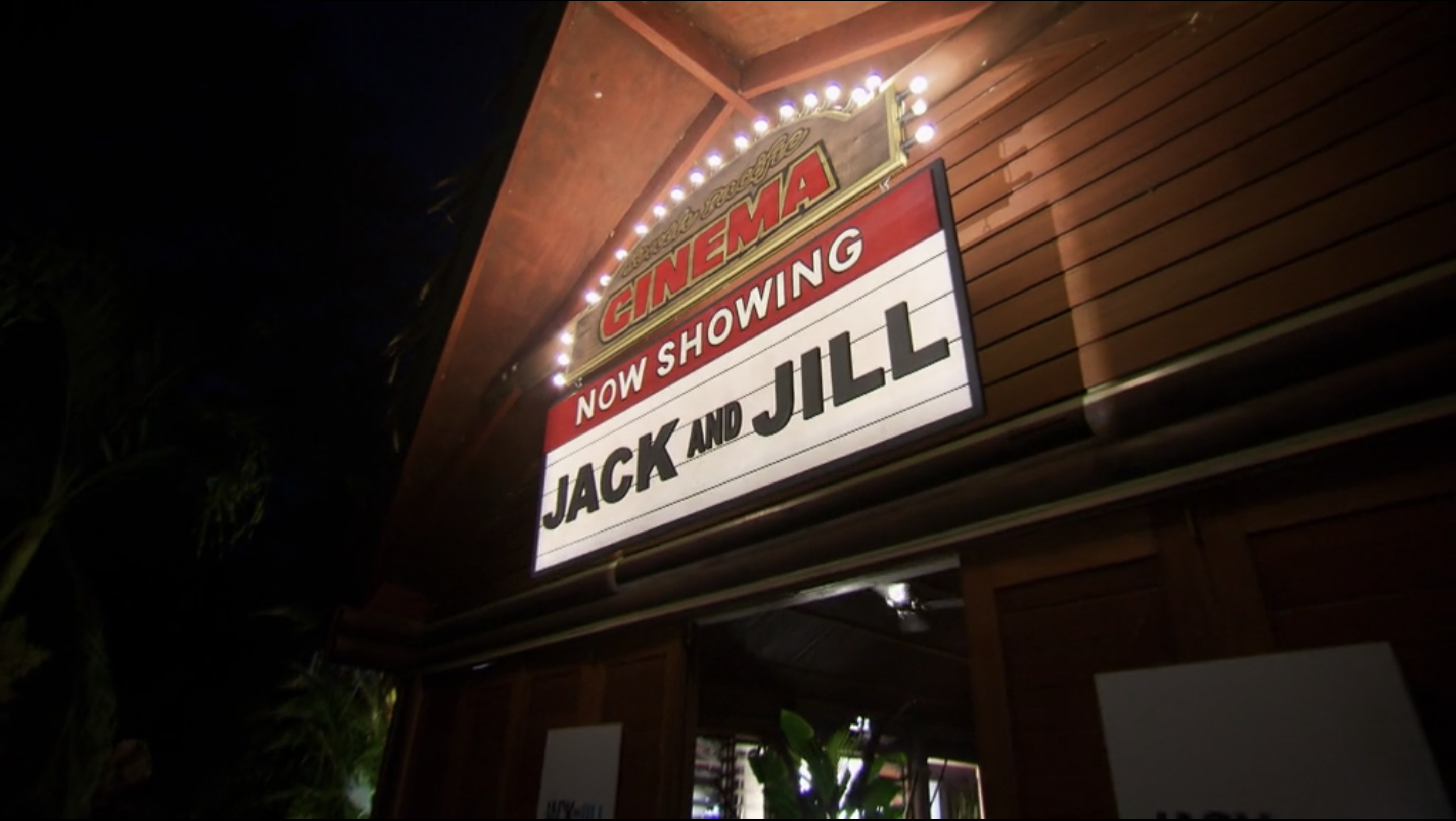 """A theatre marquee that reads """"Now Showing Jack and Jill"""""""
