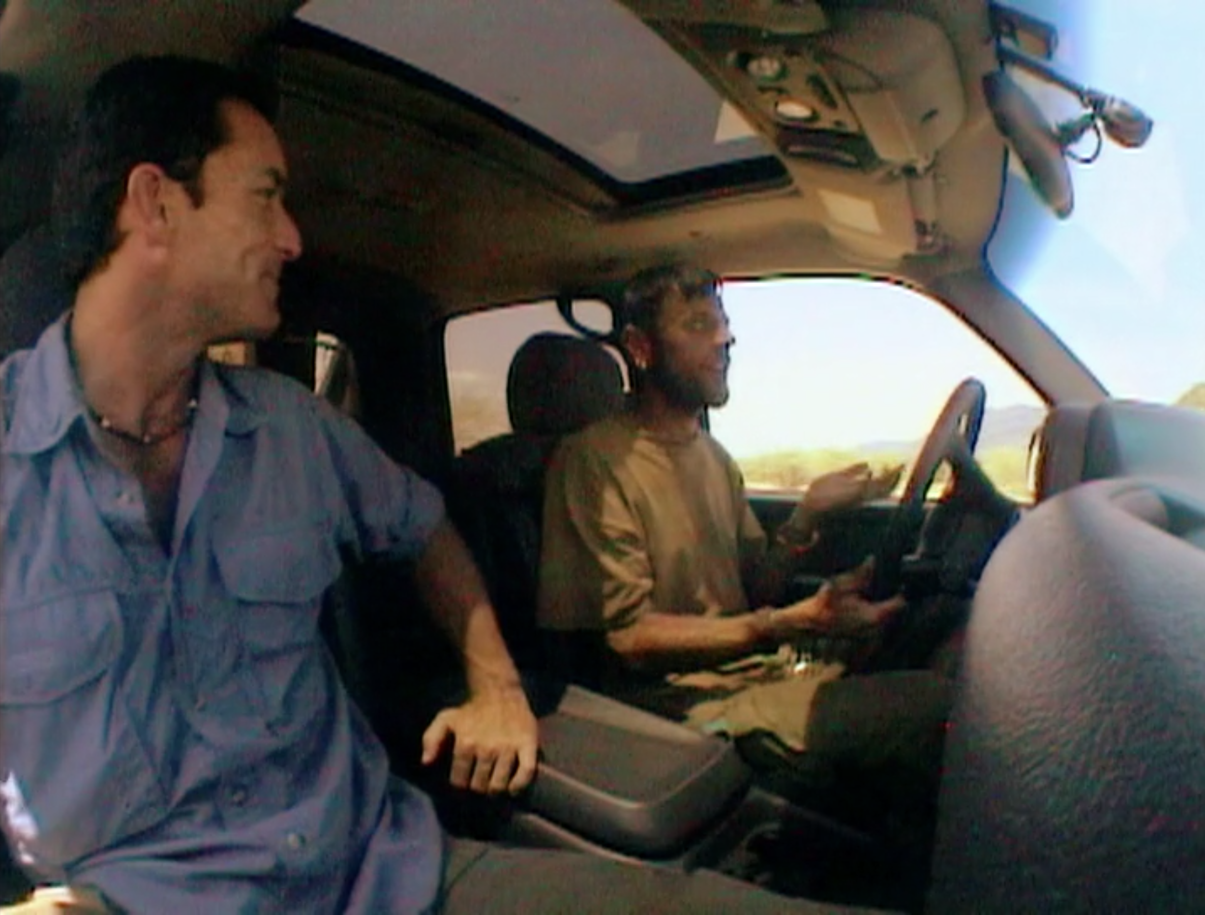 Jeff Probst rides in a new car with Lex van den Berghe