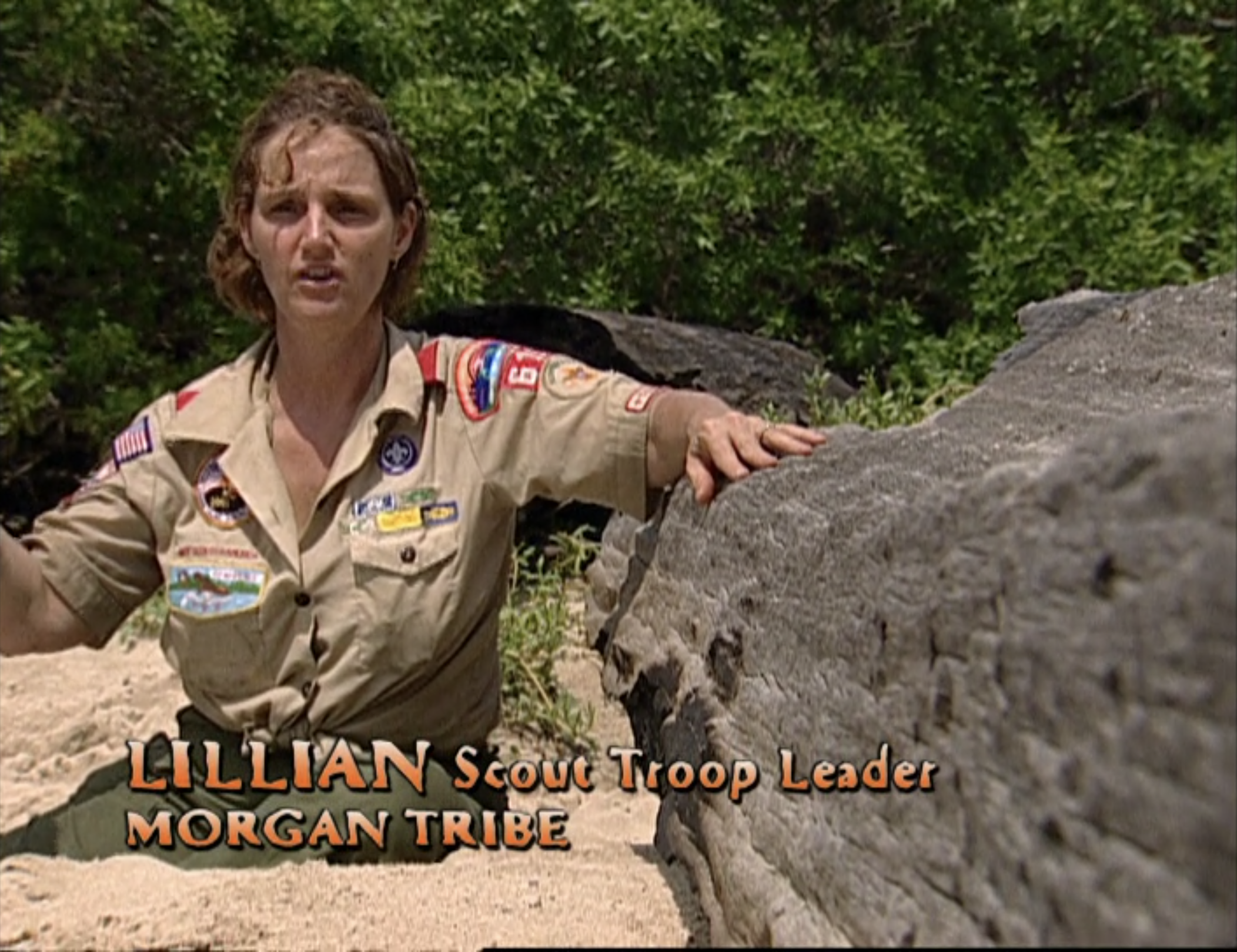 Lill Morris wearing her Boy Scout uniform in a confessional