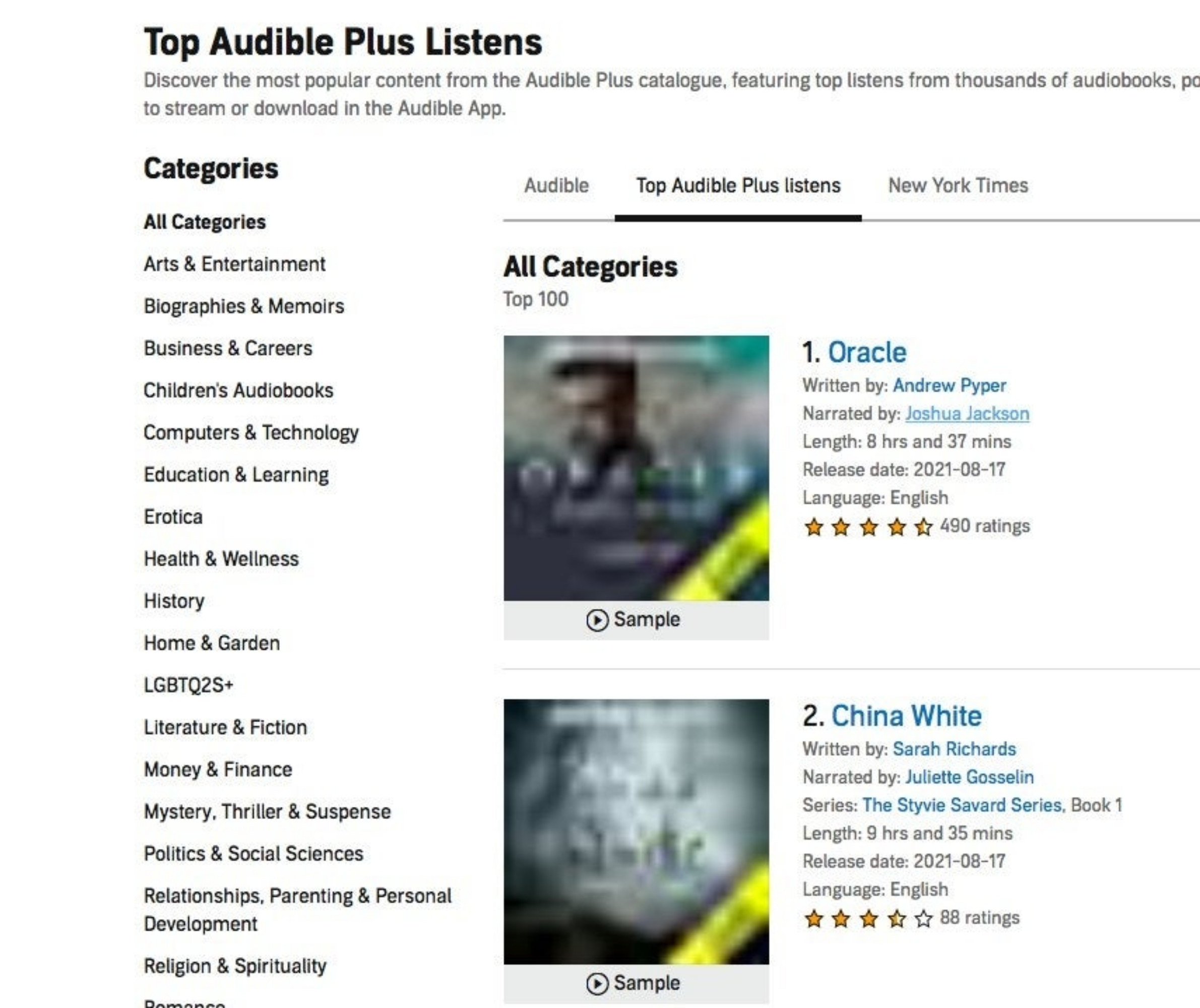 Display from Audible platform of the different categories