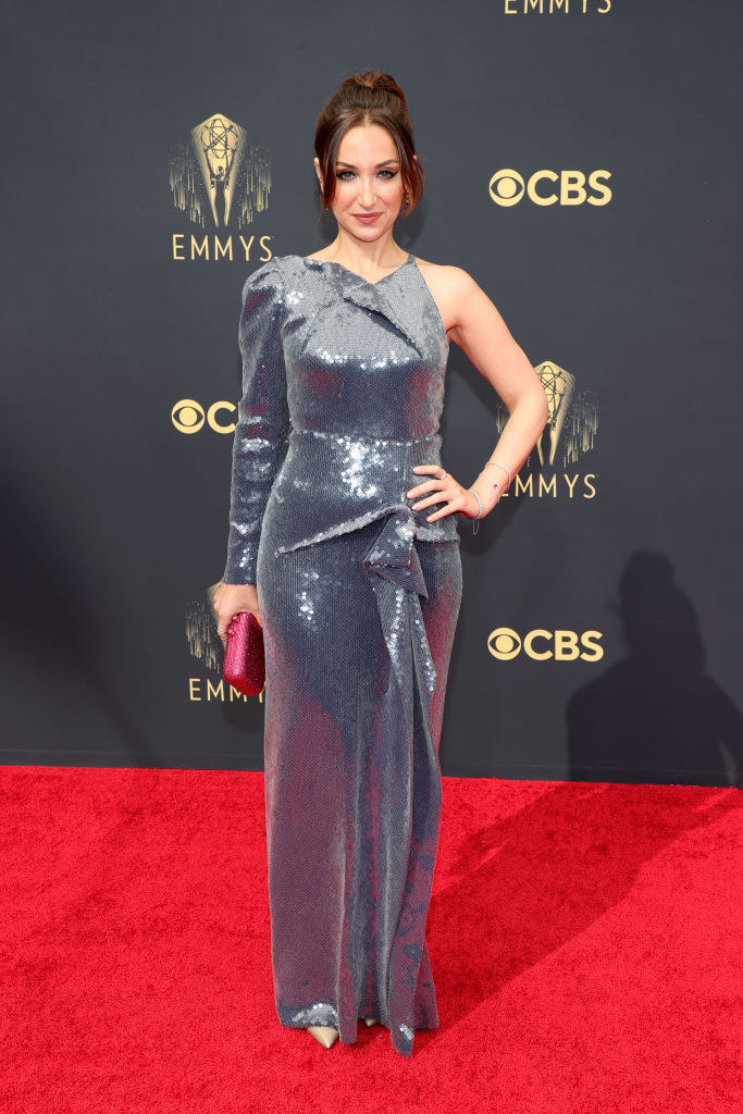 Jamie Lee on the red carpet in a silver gown