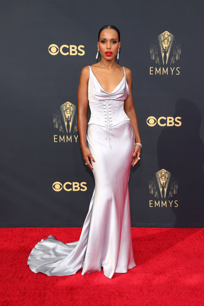 Kerry Washington on the red carpet in a satin silver gown