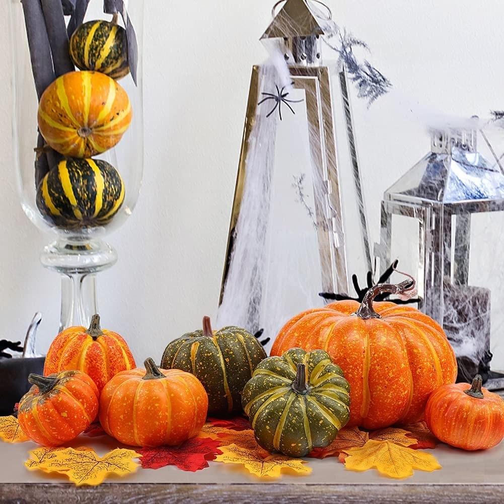 Calabazas y hojas secas súper realistas para decorar