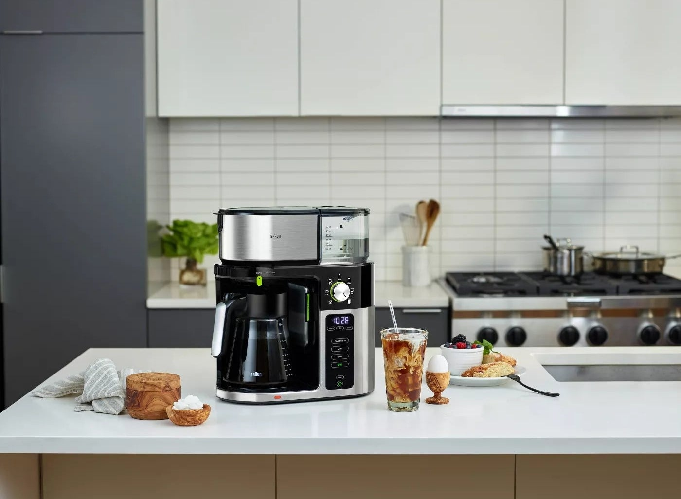 The silver and black Braun coffee maker