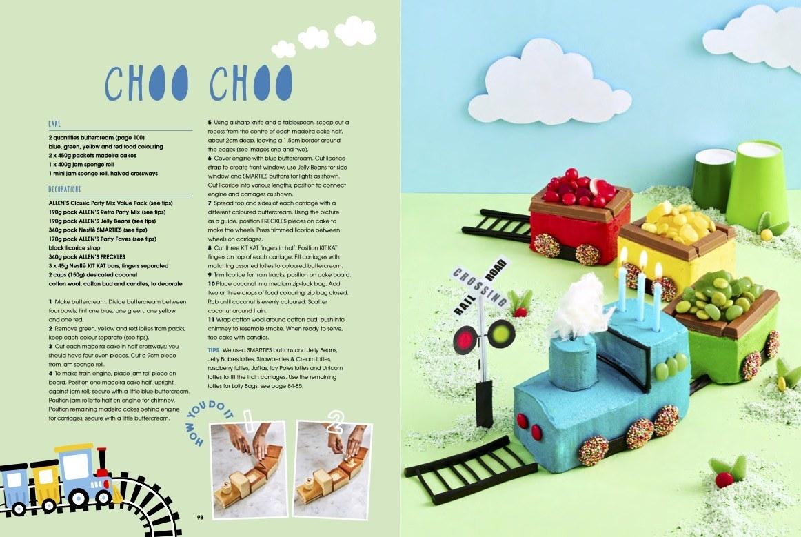 Left: The recipe for the Choo-Choo train cake; Right: The Choo-Choo train cake