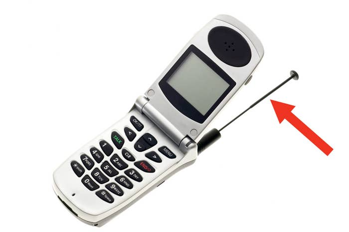 Red arrow pointing at phone antenna