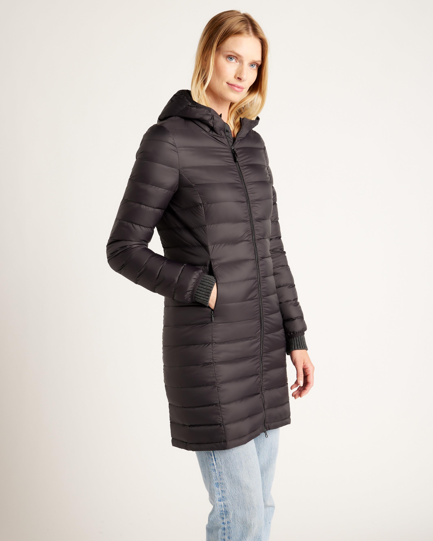 a model wears the black lightweight down long puffer jacket
