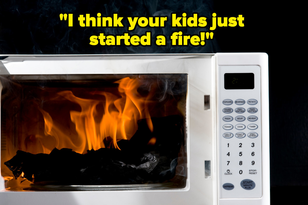 """""""I think your kids just started a fire"""" over a flaming microwave"""