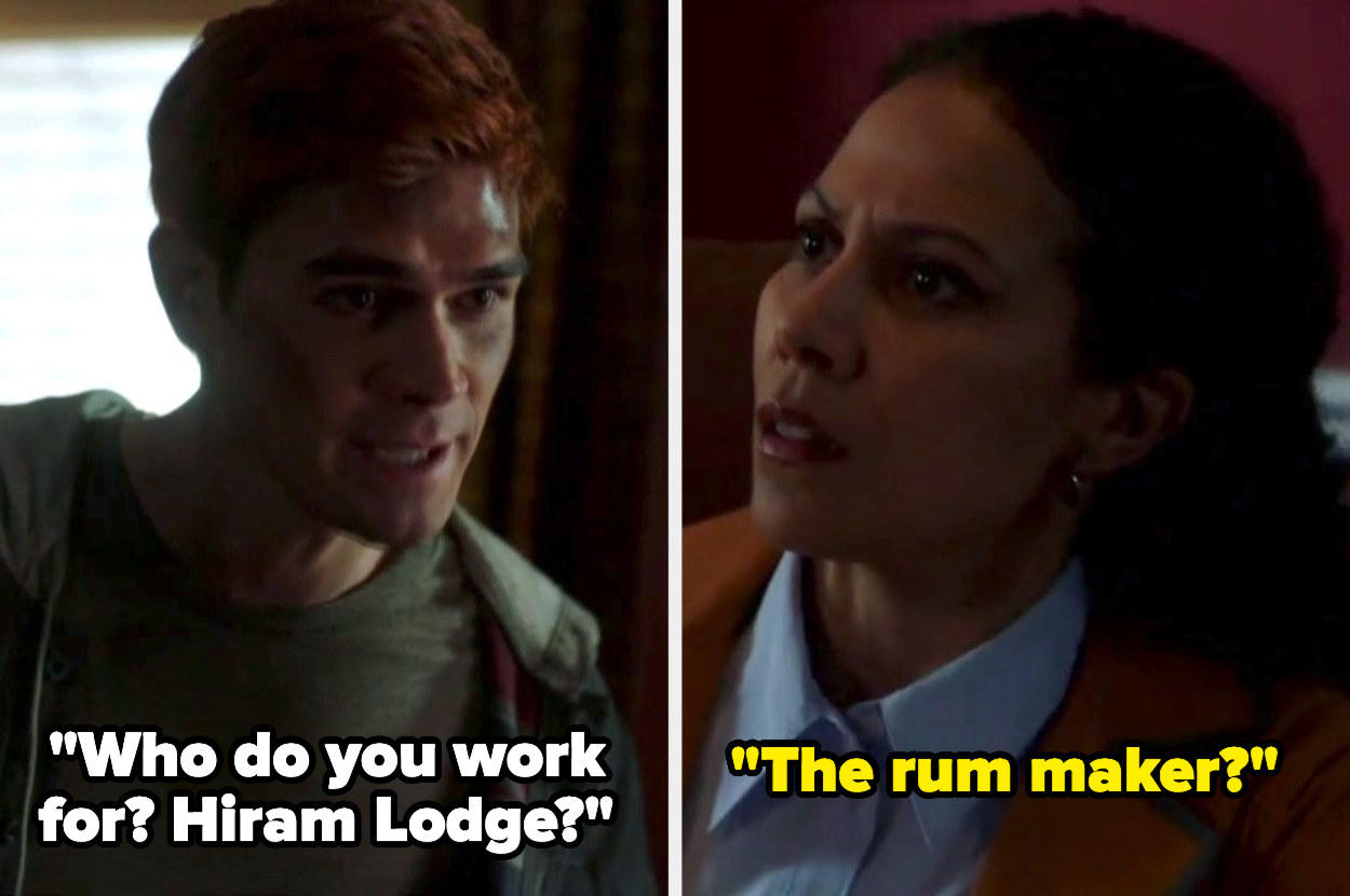 Archie says who do you work for Hiram lodge and the therapist says the rum maker?